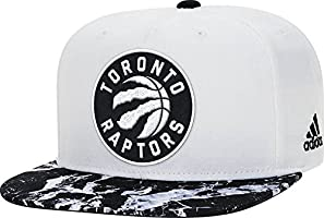 adidas AK6304 Toronto Raptors Two Town Marble Flat Brim Snapback (White/Black - One Size Fits All)