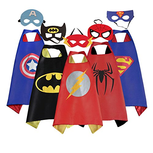 Halloween Costumes Of Kids (ROMASA Cartoon Capes for kids with Felt Masks-5 PCS Best Halloween Birthday Costume for Kids)
