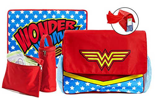 (Wonder Woman Diaper Bag and Changing Pad with Detachable Bottle Pouch and Burp Cloth - Multiple Pockets, Shoulder Strap, Flap Over Closure - Waterproof, Nylon, Gray - by DC Comics)
