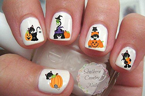 Cute Halloween Cat Set 3 Nail Art Decals