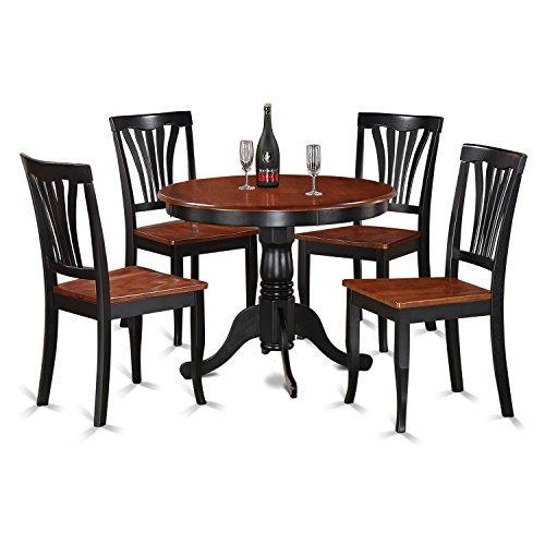 East West Furniture ANAV5-BLK-W 5-Piece Kitchen Table Set, Black/Cherry ()