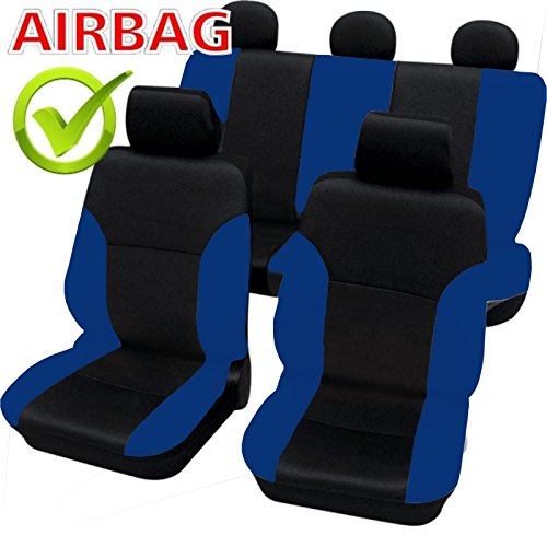 Akhan SB104 Quality car seat Cover with Side airbag in Black//Blue