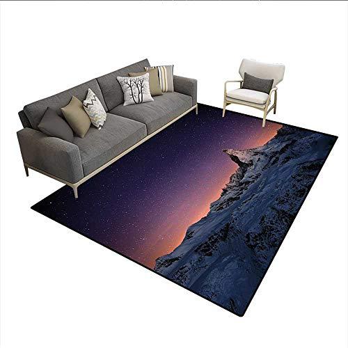 Carpet,Matterhorn Peak Zermatt Switzerland Galactic View European Natural Landmark,Print Area Rug,Purple Coral Beige 6'6