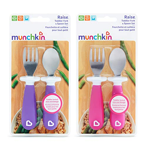 51HSp34VCIL - Munchkin Raise 4 Count Toddler Fork And Spoon, Pink/Purple, 12+