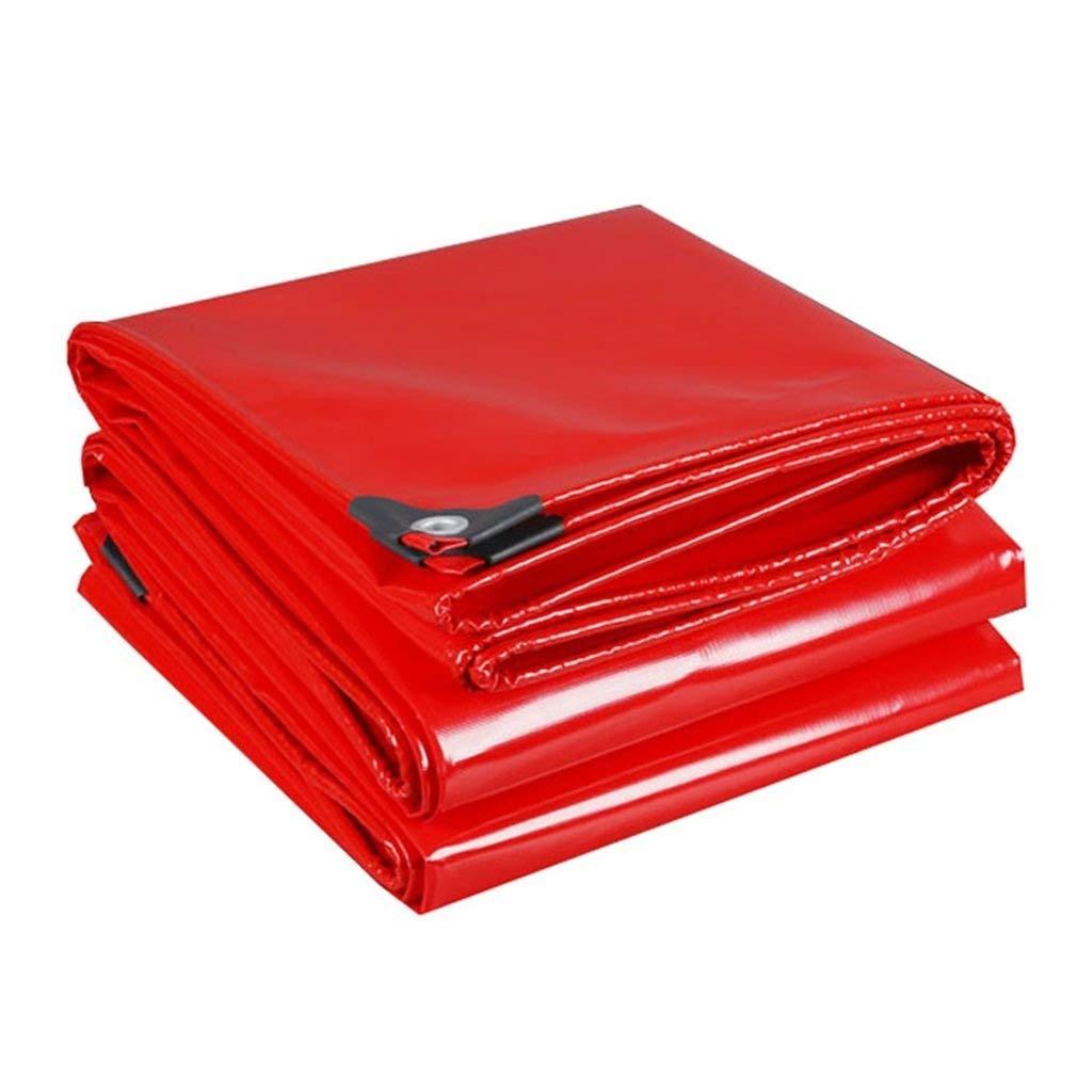 防水シート防雨ヘビーデューティ多目的 - 100%防水、UVカット、厚さ0.45mm、マルチサイズオプションプールカバーレッド FENGMIMG (色 : 赤, サイズ さいず : 6*8m) 6*8m 赤 B07R1N6ZG3