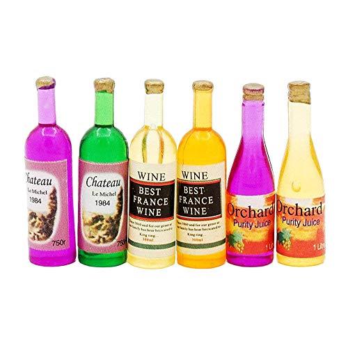 Odoria 1:12 Miniature 6PCS Colourful Wine Bottles Dollhouse Kitchen Accessories