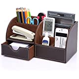 Exceptional KINGOM™ 7 Storage Compartments Multifunctional PU Leather Office Desk  Organizer,Desktop Stationery Storage Box Collection, Business Card/Pen/ Pencil/Mobile ...