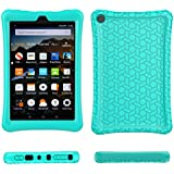 Fire HD 8 2018/2017 Case Cover-TIRIN Light Weight Shock Proof,Skid Proof Soft Silicone Back Cover Case for Amazon Fire HD 8 (2018/2017 Release) Tablet, Turquoise