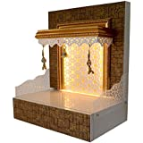 THE MANDIR STORE Wooden Mandir with LED Lights for Shops and Flats