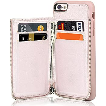 iPhone 6 Wallet Case, iPhone 6s Leather Case, LAMEEKU Shockproof iPhone 6 Card Holder cases with Credit Card Slot & Zipper Wallet Purse Money Pockets, Protective Cover for Apple iPhone 6/6s- Rose Gold