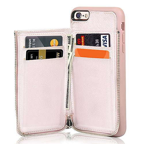 iPhone 6 Wallet Case, iPhone 6s Leather Case, LAMEEKU Shockproof iPhone 6 Card Holder cases with Credit Card Slot & Zipper Wallet Purse Money Pockets, Protective Cover for Apple iPhone (Hold Rose)