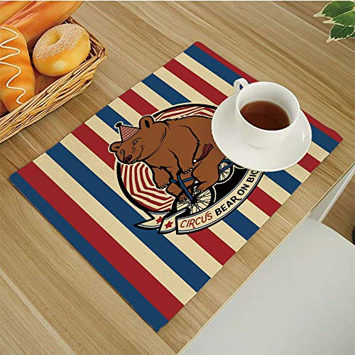 Customized Machine Washable Placemats - Handcrafted with Classic Hemstitch & Mitered Corners,Bear Circus Bear on Bicycle Carnival Theme Cute Mascot with Hat on Striped Backdrop Decorative Ruby-Blue-Br