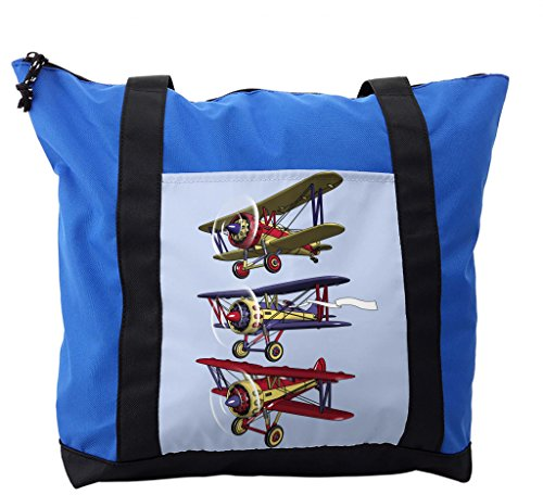 Lunarable Airplane Shoulder Bag, Biplanes with Ink Painting, Durable with Zipper by Lunarable