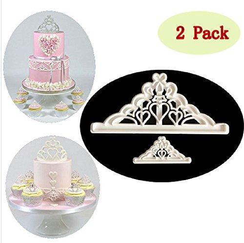 Sakolla Set of 2 The Easiest Crown Cookie Cutter Set Tiara Cutter Crown and Princess Crown Cup Cake Decorating Gumpaste Fondant ()