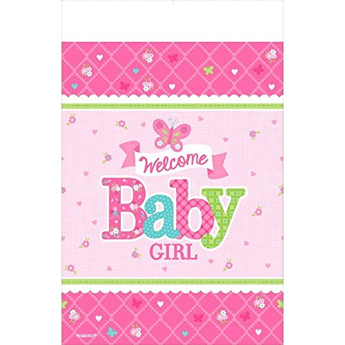 amscan Appealing Welcome Little One Girl Paper Table Cover Baby Shower Party Supplies, 54 x 102, Pink/White/Green/Blue