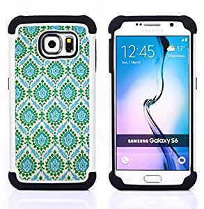 - Indian vintage teal blue/ H??brido 3in1 Deluxe Impreso duro Soft Alto Impacto caja de la armadura Defender - SHIMIN CAO - For Samsung Galaxy S6 G9200