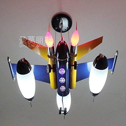 Fsd Kinder Cartoon Deckenleuchte Blaue Flugzeuge Kronleuchtern Kinderzimmer Schlafzimmer leuchten jungen Raumbeleuchtung cartoon creative LED Lampen L63*W50*H24cm