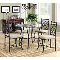 Best Care LLC 5-Piece Glass Top Metal Dining Set, Round Shape, Contemporary/Traditional Design, Home Furniture, Dining Set, Upholstery, Dining Set, Kitchen Furniture, Microfiber Chairs Bonus e-Book