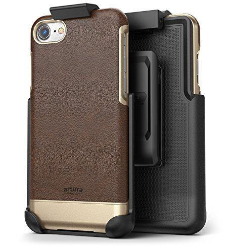 Encased Artura Collection Compatible to iPhone 7 Vegan Leather Belt Clip Case with Holster for Apple Compatible to iPhone 7 (Hickory/Gold)