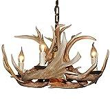 deer horn ceiling fans - Shengdi Deer Horn E12 BUlb 4-Light Iron Resin Industrial Retro Droplight Pendant lamp Ceiling lamp Ceiling light Chandelier Lighting Fixture for Restaurant Balcony Bedroom Coffee 1005C-4
