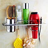 Tuersuer Easy to Assemble Hair Dryer Holder Multifunctional Hair Dryer Rack Bathroom Holder Storage Stand Organizer with 2 Hooks