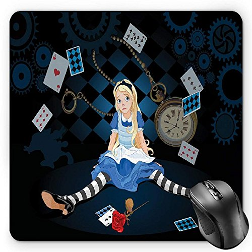 BGLKCS Alice in Wonderland Mouse Pad by, Grown Size Alice Sitting with Flying Cards and Rose Checkered Cartoon, Standard Size Rectangle Non-Slip Rubber Mousepad, Multicolor (Mousepad Alice In Wonderland)