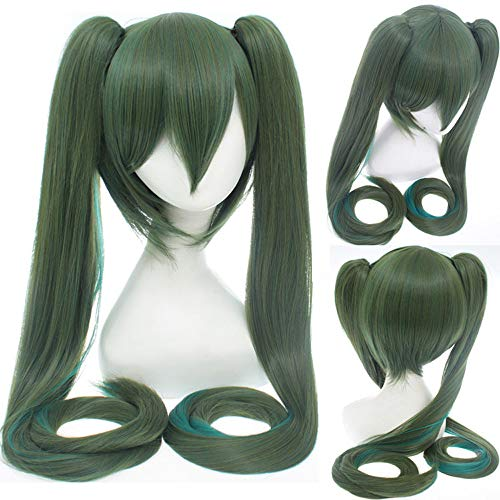 47 Inches Cosplay Wig Long Wigs with Ponytails Lovely and Natural Looking Fashion Halloween Costume Synthetic for Women Girls (Blackish green) -