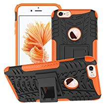 JAZ Dazzle Kickstand Case shockproof,skip,proof,flexible,Shell & Holster Combo Dual-layer Protection Built-in Kickstand Case For iphone6/6s iphone 6/6splus (iphone6/6s plus, Orange)