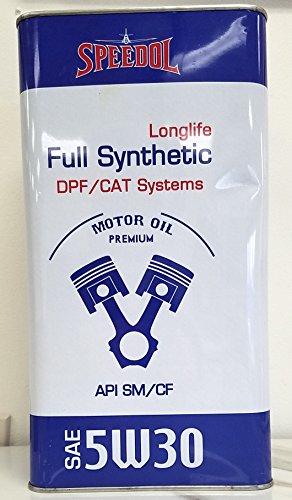 Speedol Longlife Full Synthetic SAE 5W-30 Premium High-Performance Motor Oil   Premium Metal Tin Packaging   5 Quart (4.73 L)   DPF/CAT Systems API SM/CF