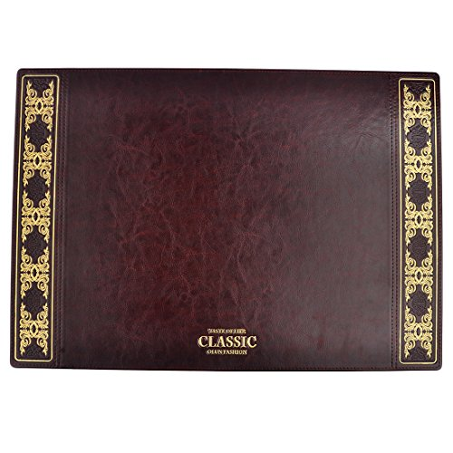 Desk Pads, Yamix Retro European Style PU Leather Desk Mat Writing Pads Table Decor - Coffee Red