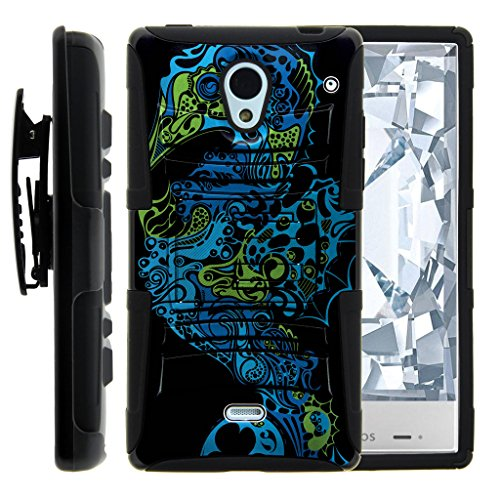 Sharp AQUOS Crystal Case | 306SH [Hyper Shock] Hybrid Reinforced Dual Layer Case Rubber Belt Clip Holster Kickstand Ocean Sea Design by TurtleArmor - Mesmerizing Water