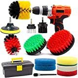 GOH DODD Drill Brush and Scrub Pads, 15 Pieces Power Scrubber Variety Cleaning Kit with Long Reach Attachment in Box for Bathroom Shower Scrubbing, Carpet Cleaning, Grout Scrubbing, and Tile Cleaning
