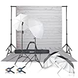 Emart 450W 5500K Umbrellas Continuous Lighting Kit and 10ft Backdrop Support System with White Wood Floor Silk Background Screen for Photography
