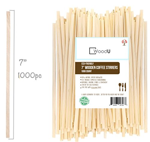 "Wooden Coffee Beverage Stirrers, Square Coffee Stir Sticks 7""(1000pc) Eco-Friendly Completely Biodegradable, Coffee Stirrers For Hot & Cold Beverages as Coffee & Tea, Alternative to Plastic Stirrers (Wooden Stir Sticks)"