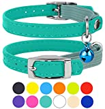 "CollarDirect Leather Cat Collar, Cat Safety Collar with Elastic Strap, Kitten Collar for Cat with Bell Black Blue Red Orange Lime Green (Neck Fit 9""-11"", Mint Green)"