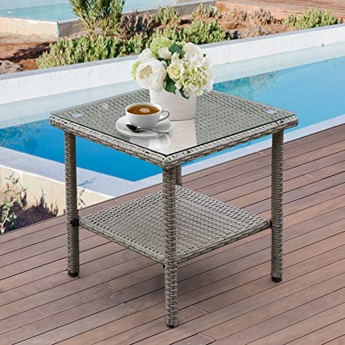Patio PE Wicker Side Table Outdoor Resin Rattan Glass Top Square End Table