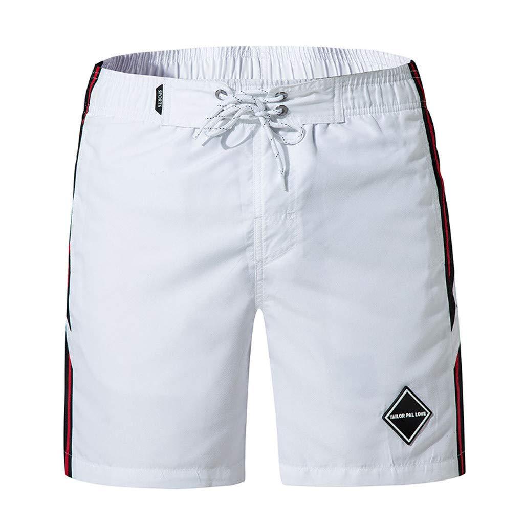 FANOUD Men Shorts for Swim Men's Casual Pure Color Beach Surfing Swimming Loose Short Pants