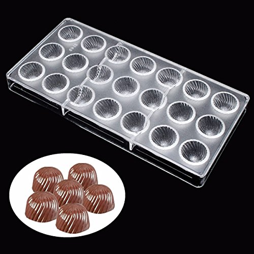 Jeteven Screw Thread Clear Polycarbonate Chocolate Mold Jelly Candy Making Mold 21-Piece Tray