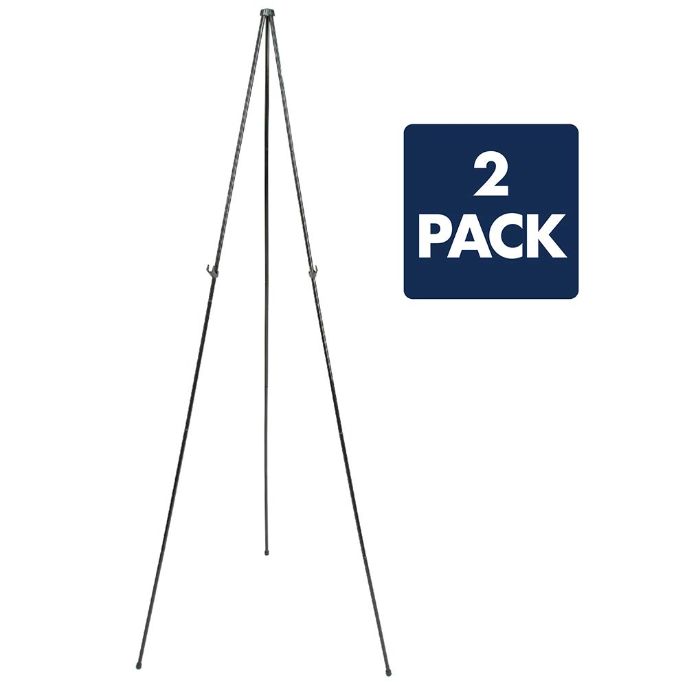 Quartet Easel, Instant Easel Stand, 63'', Supports 5 lbs., Tripod Base, 2 Pack (29EAZ2) by Quartet