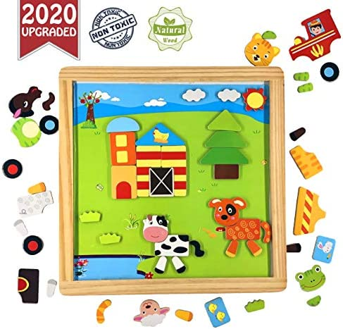 Farm Magnetic Puzzles | Animal Fridge Magnets | Group Games | Black Board | Creativity | Imagination | Wooden Birthday Kid Gift for Preschool Boy Girl Baby 3 4 5 6 7 8 Years Old