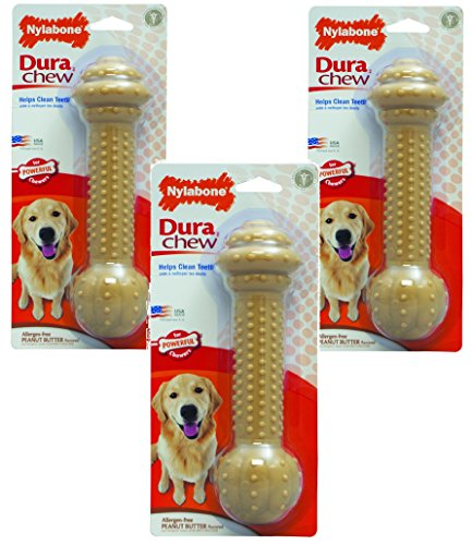 Chew Barbell - (3 Pack) Nylabone Dura Chew Large Peanut Butter Flavored Barbell Dog Chews