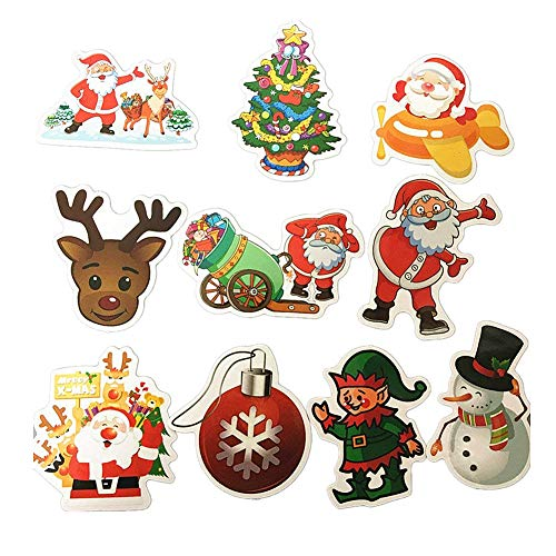 - 10-Pcs PVC Decals Christmas Stickers Vinyl Computer Stickers for Cars Motorbikes Skateboard Laptops