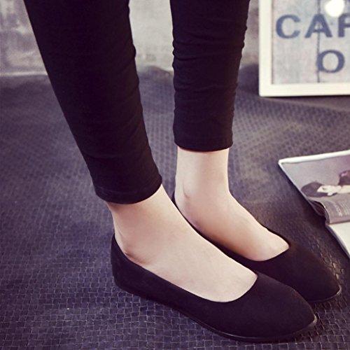 Omiky® Frauen Damen PU-Leder Slip On Flache Schuhe Sandalen Casual Ballerina Schuhe Schwarz