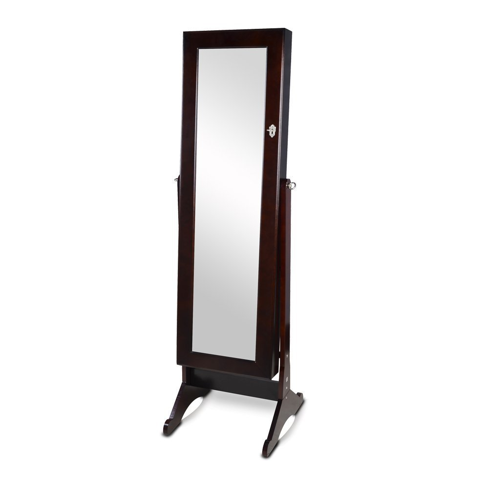 organizedlife brown mirrored jewelry armoire cheval floor cabinet organizer storage with drawer amazoncom antique jewelry armoire