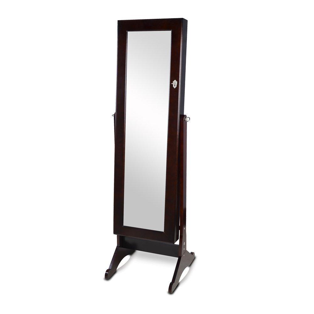 Organizedlife Brown Mirrored Jewelry Armoire Cheval Floor Cabinet Organizer Storage with Drawer