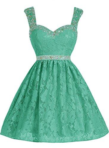 Bbonlinedress Vestido Corto de Encaje con Tirantes escote Corazón Verde