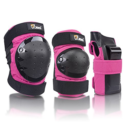JBM international Adult / Child Knee Pads Elbow Pads Wrist Guards 3 In 1 Protective Gear Set, Pink, Adult by JBM international