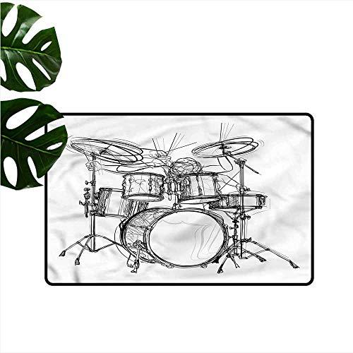 Modern Door mat Rock Music Drummer Doodle Art Durable W24 xL35