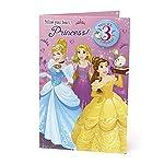 Disney Princesses Age 3 Birthday Card - Cinderella, Belle, Tangled