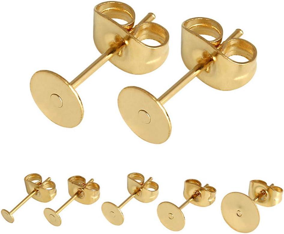 100 pares (200 piezas) de pendientes con almohadillas planas/pendientes con cierre de mariposa para hacer pendientes, reparación de pendientes, dorado, 4 mm